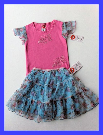 New Lipstik bright pink sleeve top blue floral skirt size girls 6