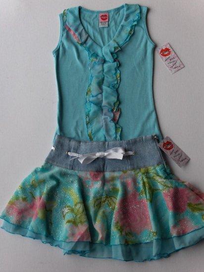 New Lipstik aqua blue tank top jean floral skirt girls size 8