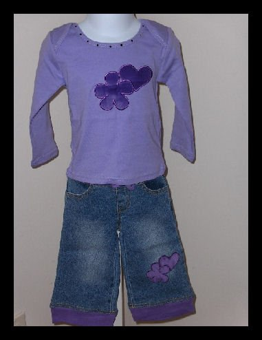 sale Lipstik Purple Top Jeans set 2T