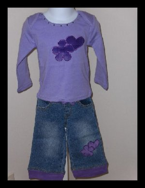 sale Lipstik Purple Top Jeans set 2T