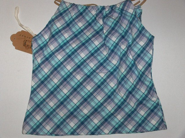 New K.C. Parker Hartstrings Blue Plaid Halter Top girls size 14