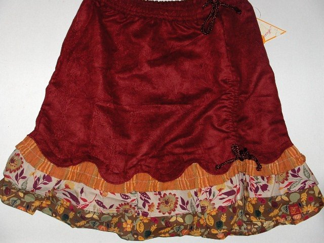New Le fromage et L' orange rouched print russet skirt girls size 8