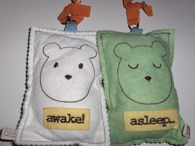 New Tree by Kerri Lee door knob sign white awake bear green asleep bear for baby