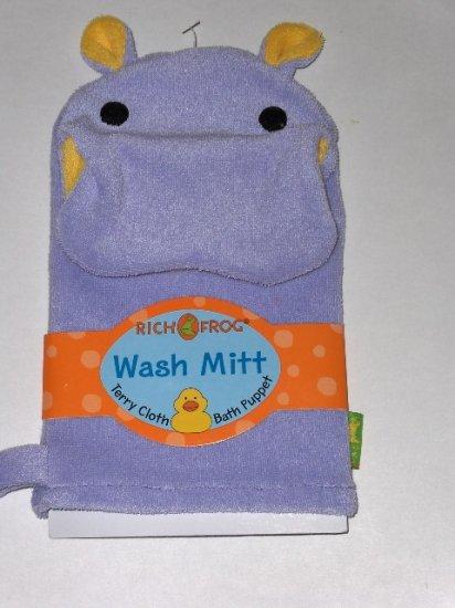 New Rich Frog Wash Mitt Terry Cloth Bath Puppet purple hippo