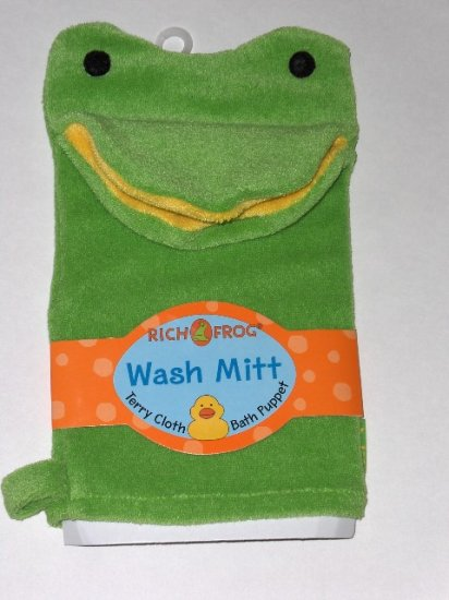 New Rich Frog Wash Mitt Terry Cloth Bath Puppet Green Frog