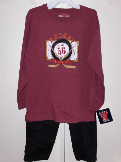 New boys size M Wes and Willy Hockey Star long sleeve tee black cotton pull on pants