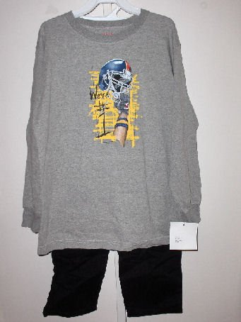 New boys size M Wes and Willy Gray We're #1 long sleeve tee pull on black cotton pants