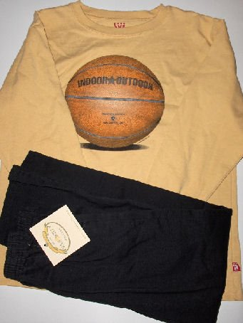 New Wes and Willy Yellow Basket Ball LS tee Black Pull On Pants size boys M