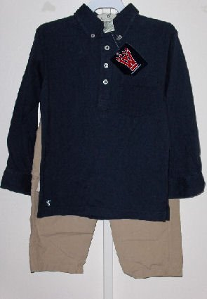 New Wes and Willy LS Navy Polo tee Khaki Cargo Pants Boys 4
