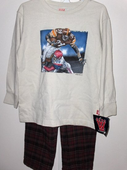 New Wes and Willy LS Light tan Football Tee Brown Plaid Flannel Pants boys size 5