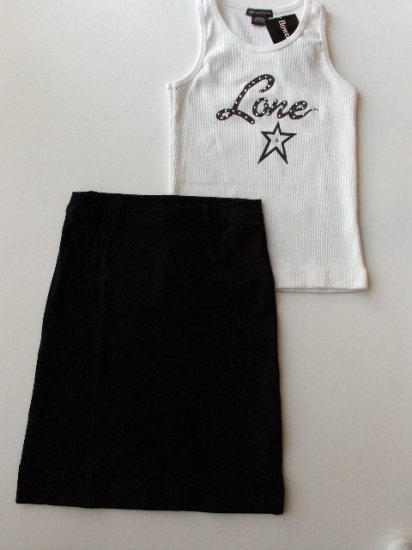 New Big Girls Flowers by Zoe S White Lone star tank black skirt set