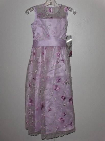 New Storybook Heirlooms Embroidered Illusion Orchid Dress girls size 6