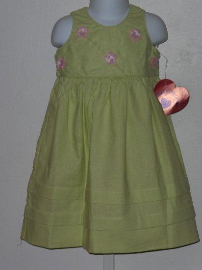 New Toddler girls Hartstrings Green linen and cotton jumper dress 2T
