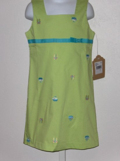 New K.C. Parker by Hartstrings green flip flop basket sundress size girls 5