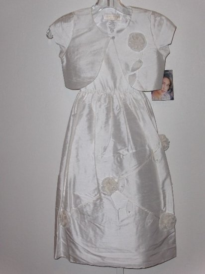 New Biscotti Collection white silk 1st communion dress with jacket girls size 7