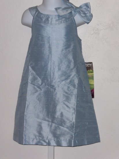 New Light Blue embroidered 100% silk dress girls size 6 wedding party