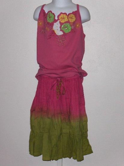 New Zyno Pink tank tie dye skirt set girls size 10 years