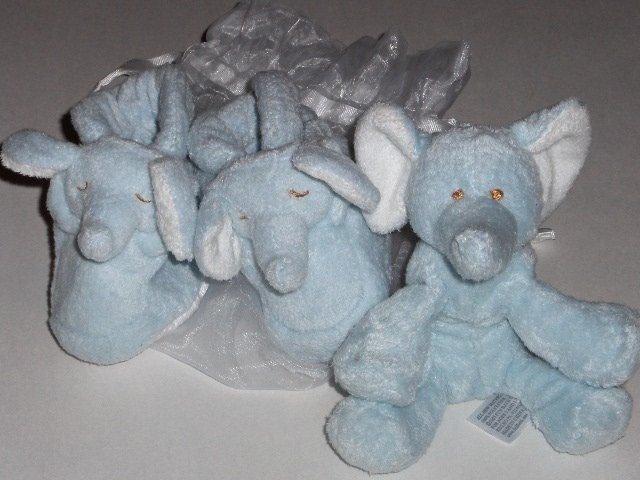 New Angel Dear by Fun Bath Blue Elephant bootie and plush set baby boy size 0-6 months