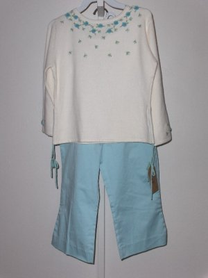 New K.C. Parker by Hartstrings Cream floral pullover sweater capri pants set girls size 10
