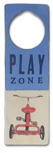 New Tree by Kerri Lee door knob sign Play Zone blue with Tricycle
