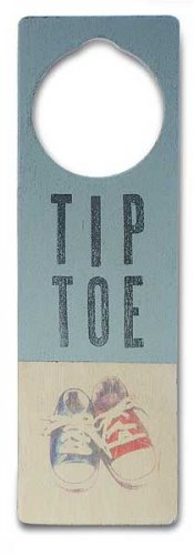 New Tree by Kerri Lee door knob sign blue Tip Toe with tennie shoes