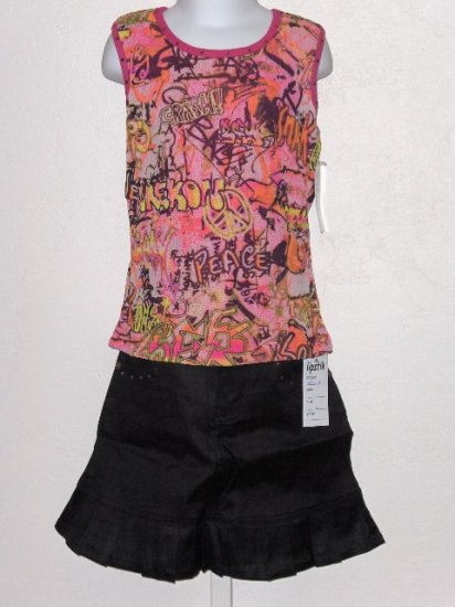 New Lipstik Graffitti tank black skirt set girls size 10