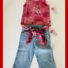sale New Lipstik floral pink tank top belted jean capris girls size 5