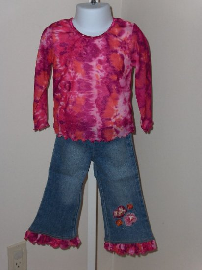 sale Lipstik tie dye long sleeve fuschia tee and matching jeans set size 3T