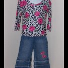 sale Lipstik leopard floral print long sleeve top and jeans set girls size 4T