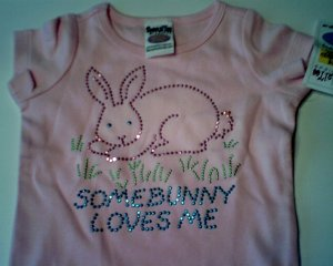 Pink Somebunny Loves Me Tee by SpecialTee Designs girls size M 10