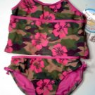 Angel Beach floral camo two piece swimsuit bikini girls size 12