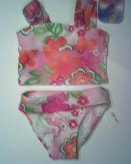 New Breaking Waves Tropical Floral print biniki swimsuit girls size 4