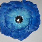 Blue Peony Flower Hair Clip with Jewel Center