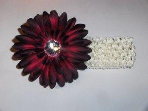Burgandy Gerbera Daisy flower hair clip on cream 1.5 inch headband