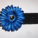 Deep Blue Gerbera Daisy hair clip on a black 1.5 inch crochet headband
