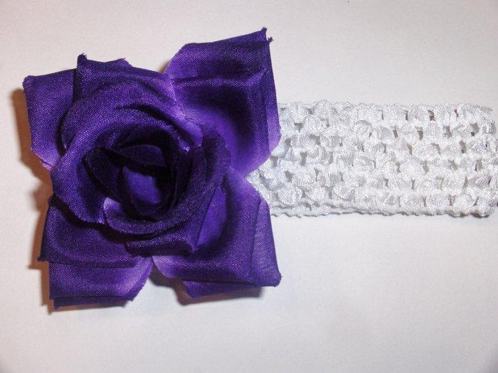 Purple Rose Hair Clip on a 1.5 inch white crochet headband