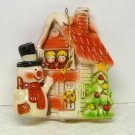 Vintage Christmas blow mold Ornament Snowman and House soft plastic or vinyl
