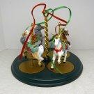 Hallmark Christmas Carousel Stand and Four Horses 1989
