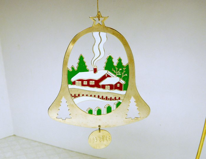 Vintage Gloria Duchin Goldtone Christmas Ornament Bell with Painted Scene 1986
