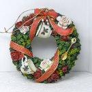 Christmas ornament Sandy Lynam Clough wreath teacups ribbons signed