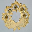 Gloria Duchin Goldtone Christmas ornament wreath with jingle bells 1994