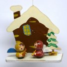 Vintage Christmas ornament wooden snow scene with little angels made in Japan