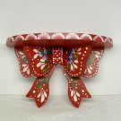 small crimson red decorative handpainted demilune shelf Christmas holidays everyday floral signed