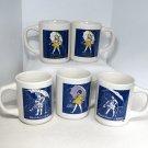 Lot of 5 Morton Salt cups mugs assorted umbrella girl