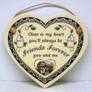 Trinity Pottery Wisconsin USA glazed wall plaque Friends Forever love freindship Valentine