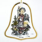 Vintage Hummel Christmas Flat Clear Glass Ornament ARS Watchful Angel