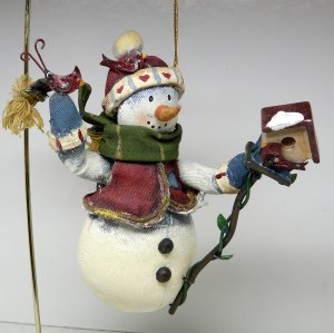 Christmas ornament snowman fabric denim hand painted tin accents birds birdhouse