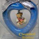 Enesco Cherished Teddies Christmas ornament Hillman bear with doll in a blue heart frame 282324 1996