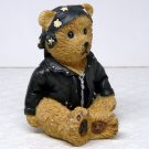 Youngs figurine Harley Biker Teddy bear motorcycle black leather jacket head wrap