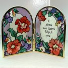 Joan Baker Design small arched folding panels art glass poppies If Friends Were Flowers I'd Pick You